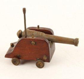 Wood & Brass Decorative Desk Cannon