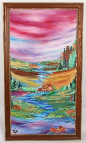 Acrylic On Board Colorful Landscape
