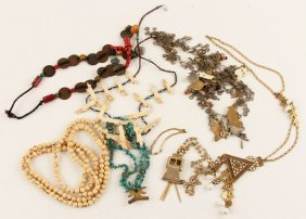 Mixed Lot Of Beaded & Gold Tone Costume Jewelry
