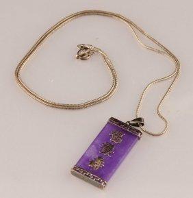 Ladies Sterling Silver Purple Jade Necklace
