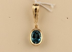 14k Yellow Gold Oval London Blue Topaz Pendant