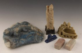 Lot | Asian Carved Softstone & Blue Lapis Figures