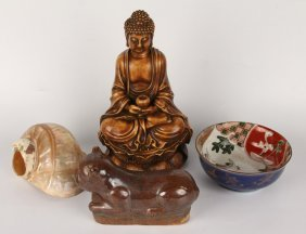 Asian Lot | Buddha Figure, Pillow, Mother Of Pearl