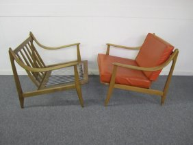 Pair Danish Modern Scooped Arm Lounge Chairs