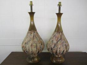 Xl Pair Of Fat Lava Glaze Danish Modern Lamps