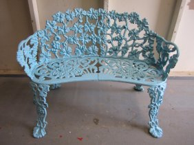 Vintage Cast Iron Grapevine Bench Settee