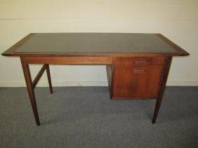 American Mid-century Modern Walnut Desk Faux Slate