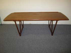 Danish Kurt Ostervig Style Surfboard Teak Coffee Table