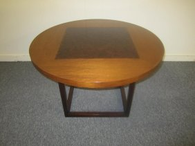 American Modern Large Round Side Table Rosewood Base