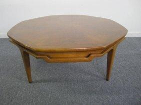 Nice Mid-century Modern Lane Walnut Otagon Coffee Table