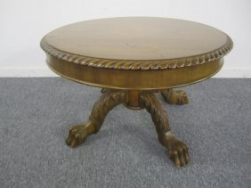 Unique Small Carved Walnut Clawfoot Coffee Table