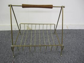 Retro Brass And Walnut Magazine Rack