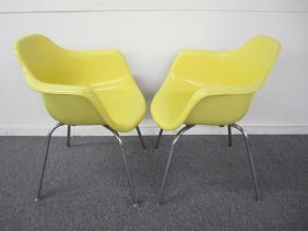 Nice Pair Yellow Eames Style Tub Chairs