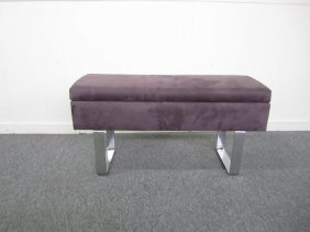 Petite Milo Baughman Style Chrome Upholstered Bench