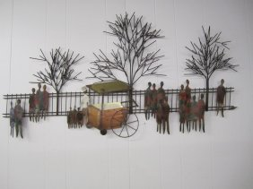 Signed C.jere Park Scene Mixed Metal Wall Sculpture
