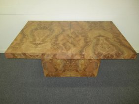 Milo Baughman Style Olivewood Formica Dining Table