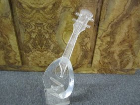 Whimsical Mid-century Modern Lucite Guitar Sculpture