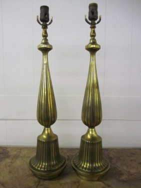 Pair Hollywood Regency Style Tall Brass Lamps