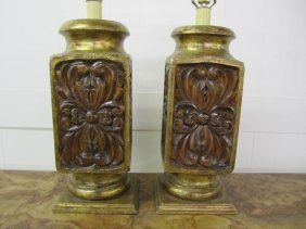 Lovely Pair Of Large Carved Wood Lamps