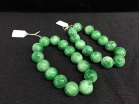 A Nicely Carved Pair Of Jadeite Beads Bracelets
