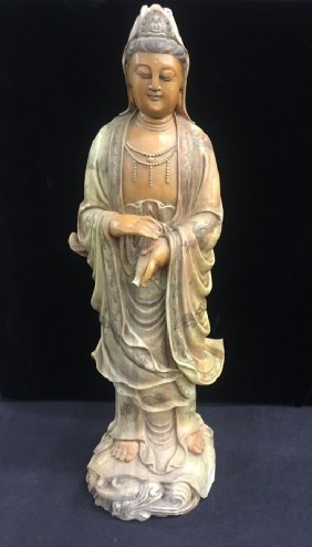 Antique Finely Carved Soapstone Standing Guan-yin