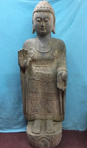 Ming Finely Carved Solid Stone Buddha Statue