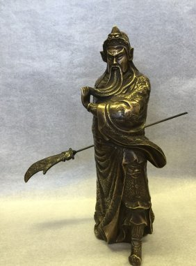 Qing Finely Carved Bronze Guan-yu Statue