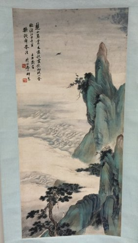 Chinese Scroll Water Color Ink Painting On Paper