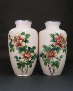 A Pari Japanese Pink Cloisonne Vase