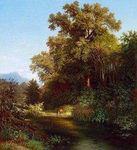 Brodszky Sandor, 1819-1901, Deer By The River, 1855
