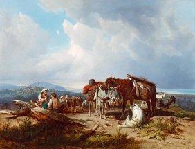 Marko Andras, 1824-1895, Italian Landscape With A