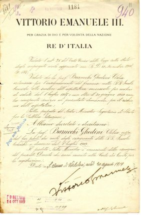 Rome 1919 Signature King Vittorio Emanuele Iii