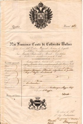 Embassy Passport 1837 Austro-hungarian/papal States
