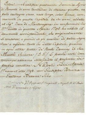 Kingdom Of Naples 1798 Manuscript In Watermarked Paper