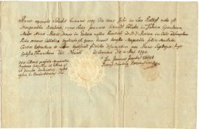 Germany Bamberg 1794 Ancient Baptism Document