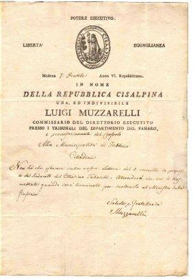 Cisalpine Republic 1798 Document With Red Wax
