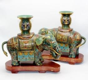 Pair Of Chinese Cloisonne Elephante Candleholders With