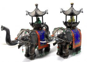 Chinese Unique Silver, Jade & Enamel Elephants (2