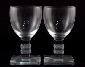 Lalique France Crystal Cordials Set Of 8