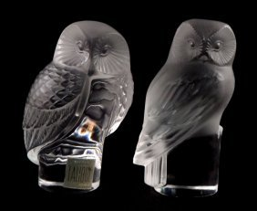 Lalique France Crystal Owls (Pair)