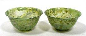 Pair Of Chinese Jade Rice Bowls