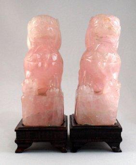Chinese Rose Quartz Foo Dogs (pair)