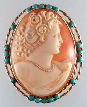14 Kt Yellow Gold Cameo Pendant