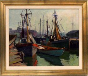 Emile Albert Gruppe Oil Nautical Painting