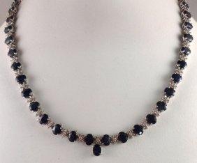 14 Kt WG Diamond & Sapphire Necklace