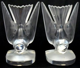 Pair Of Lalique Crystal Figural Bookends