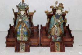 Pair Of Chinese Cloisonne & Ivory King & Queen