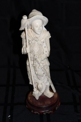 Chinese Carved Ivory Figure Of Warrior
