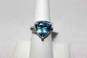 Mauboussin 18kt Wg Blue Topaz & 0.21ct. Diamond Ring
