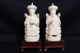 Pair Of Chinese Carved Ivory King & Queen